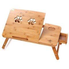 Masuta stand din lemn bambus, cu 2 coolere pentru laptop