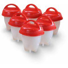 Set 6 recipiente din silicon cu capac pentru fiert oua Egg Boil Cooker