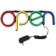 Reclama luminoasa LED neon cu mesaj Open
