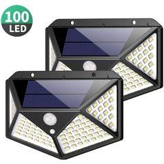 Set 2 x Lampa 100 LED cu panou solar si senzor de miscare