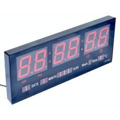 Ceas electronic de perete LED Rosu cu afisaj termometru si calendar