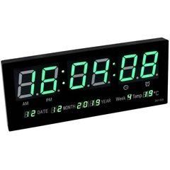 Ceas digital de perete cu afisaj termometru, calendar si LED verde