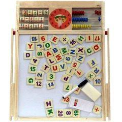 Tabla de scris din lemn 2 in 1 magnetica, cu numaratoare si ceas