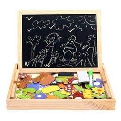Tablita din lemn magnetica cu 2 fete si piese puzzle magnetice
