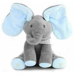 Elefant interactiv din plus care vorbeste, canta si flutura urechile